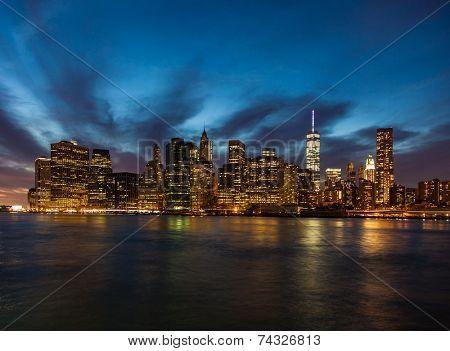 Manhattan skyline night shot