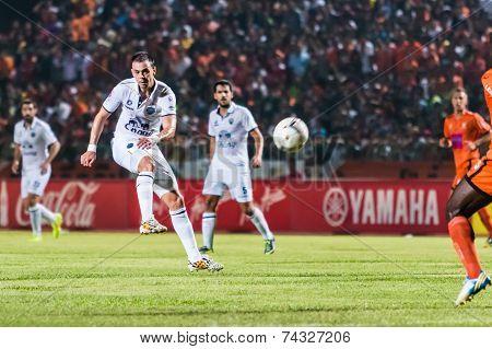 Sisaket Thailand-october 15: Carmelo Gonzalez Of Buriram Utd. Shooting Ball During Thai Premier Leag