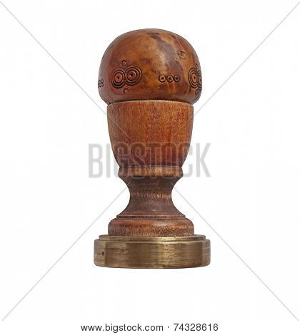 vintage wood and brass barista tamper over white, clipping path