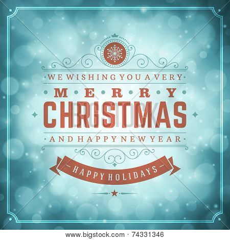 Christmas retro typography and light with snowflakes. Merry Chri