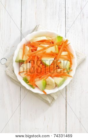 Fruit Vegetable Salad With Carrots, Apples, Bananas, Top View