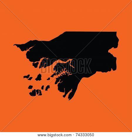 Illustration On An Orange Background Of Guinea Bissau