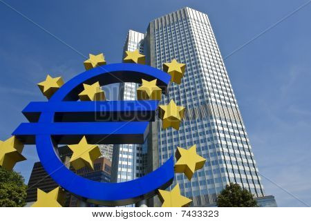 European Central Bank with Euro sign sculpture, Frankfurt am Main