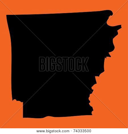 Illustration On An Orange Background Of Arkansas