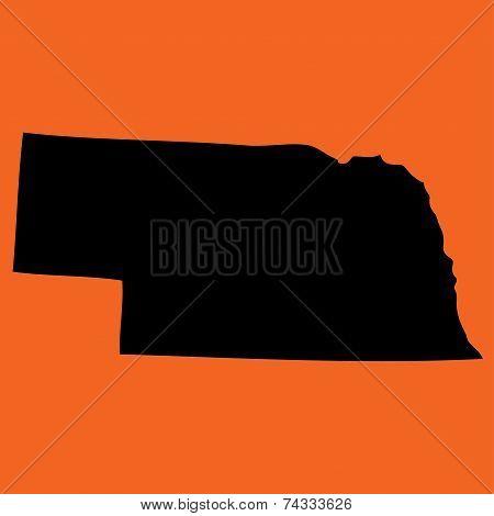 Illustration On An Orange Background Of Nebraska