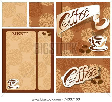 Template Designs Of Menu And Business Card For Coffee House  With Coffee Cup, Beans, Calligraphic Te