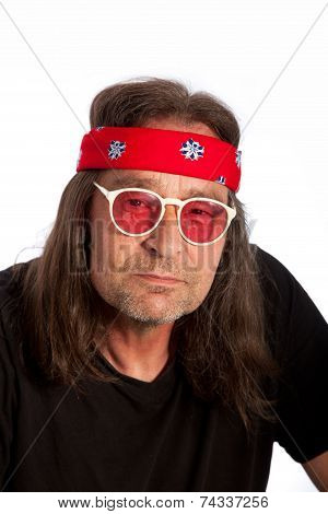Older Long Hair Man With Headband