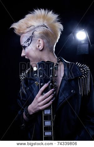 Fashion Rocker Style Model Girl Portrait. Hairstyle. Punk Woman Makeup, Hairdo and black Nails. Smok