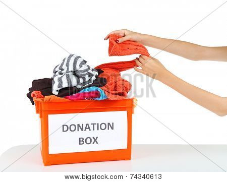 Volunteer with donation box  isolated on white