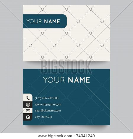 Business card template, black and white pattern vector design