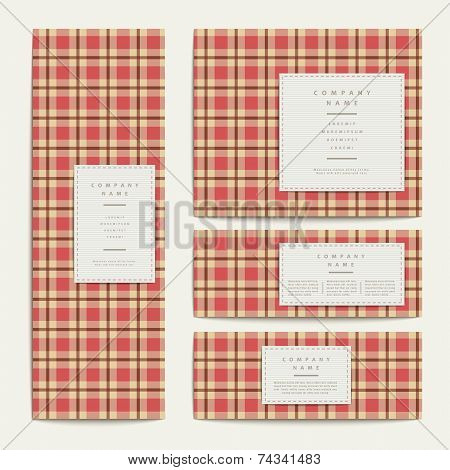Plaid Design Banners Set In Red