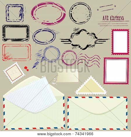 Collection Of Mail Design Elements - Blank Postmarks, Stamps And Envelopes - Postage Set.