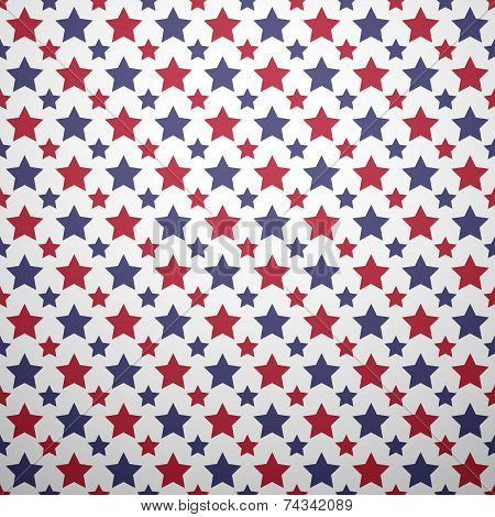 Patriotic red, white and blue geometric seamless pattern