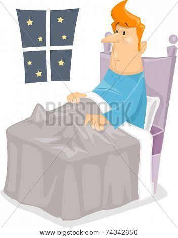 Illustration Featuring a Man with Insomnia