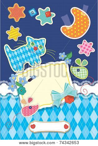 Card For Children - Frame, Cat, Mouse, Stars And Moon Are Made Of Fabric - Childish Background.