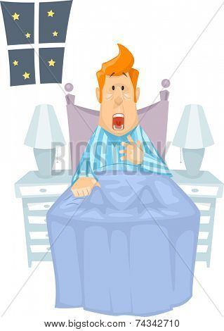Illustration of a Man Suddenly Waking From a Nightmare