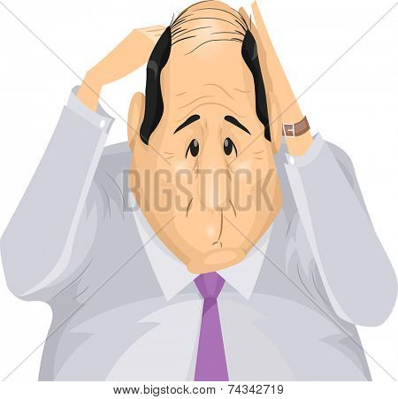 Illustration Featuring a Man Distressed by His Hair Loss