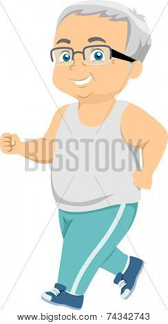 Illustration Featuring an Elderly Man Going for a Jog