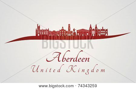 Aberdeen Skyline In Red