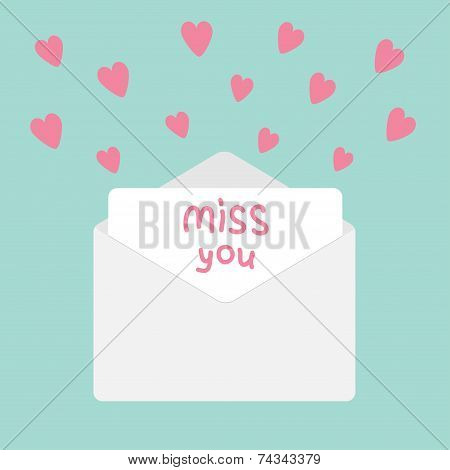 Envelope With Hearts. Miss You Card.