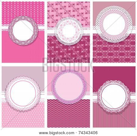 Set Of Vertical Invitation Cards (for Birthday, Wedding, Baby Shower, Etc.) And Labels With Round La