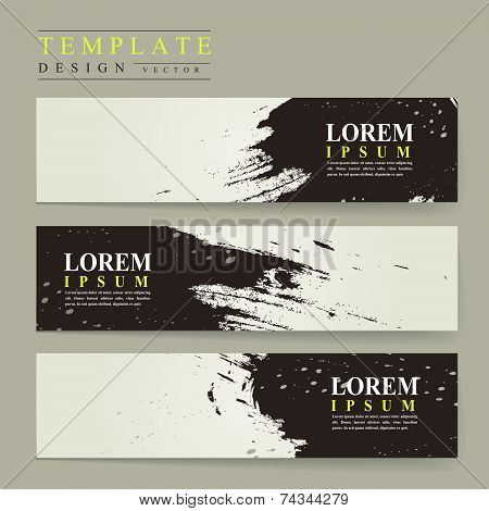 Abstract Chinese Calligraphy Design For Banners Set