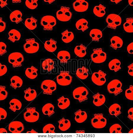 cute black and red skulls, seamless pattern