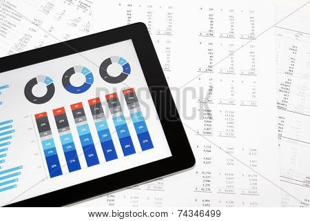 Business Charts on Tablet