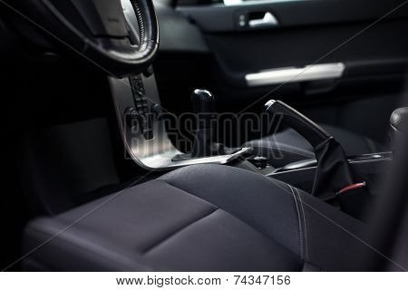 Modern car interior (color toned image)