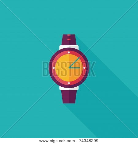 Wristwatch Flat Icon With Long Shadow