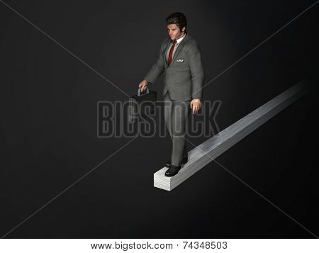 businessman on the edge of the abyss