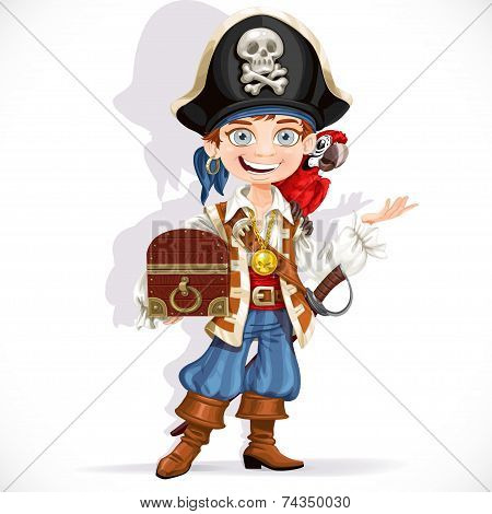Cute pirate boy with red parrot hold treasure chest isolated on