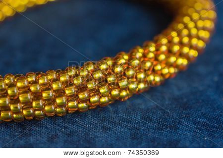 Necklace From Yellow Transparent Beads Close Up