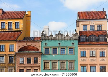 Facades of old houses, Warsaw