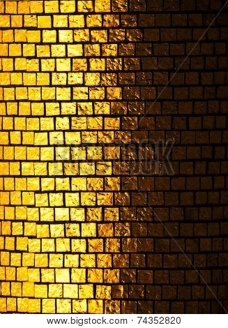 Gold tiles in light and shadow