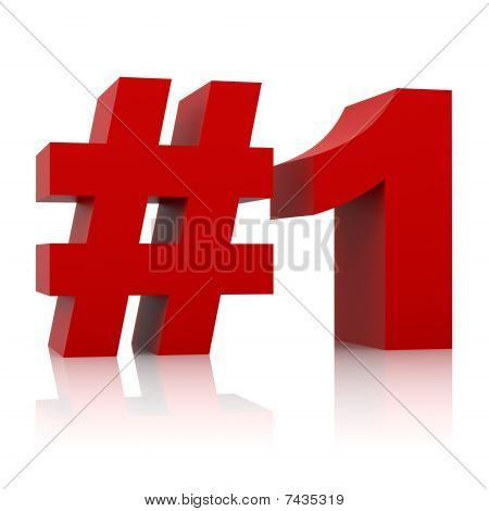 red number one sign isolated on white background