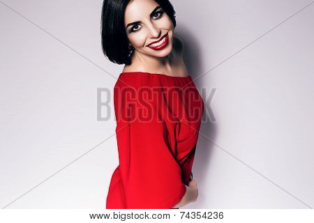 Cute Brunette Woman With Bob Cut