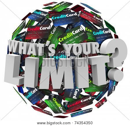 What's Your Limit words in 3d letters asking your credit card account line maximum for borrowing money to pay for expensive purchases