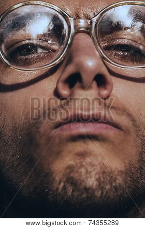 Funny Serious Man In Glasses