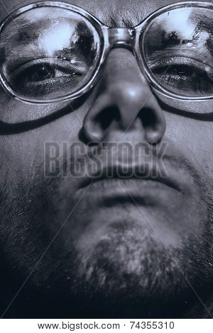 Monochrome Funny Serious Man In Glasses