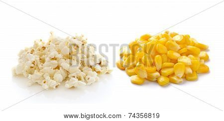 Sweet Whole Kernel Corn And Pop Corn On White Background