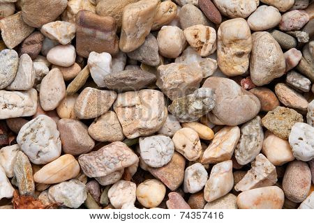 Close-up of yellowish-brown and white pebbles