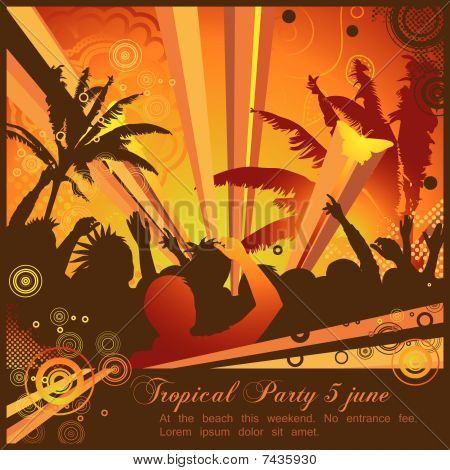 Party flyer with a retro summer feeling