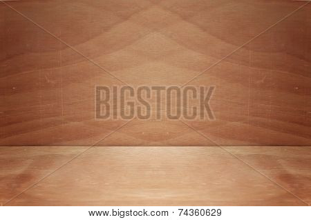 Background With Wooden Deck Table Over Wooden Wall