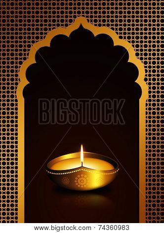 Diwali Oil Lamp Over Dark Brown  Background