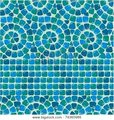Seamless Mosaic Pattern - Blue Ceramic Tile - Classical Geometric Ornament. Ready To Use As Swatch