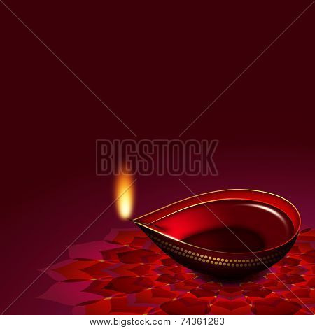 Diwali Oil Lamp Over Rouge Background