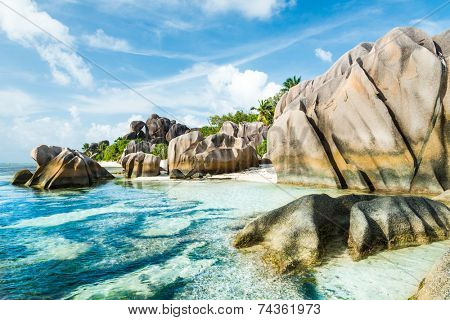 Anse Sous d'Argent beach with granite boulders and turquoise sea