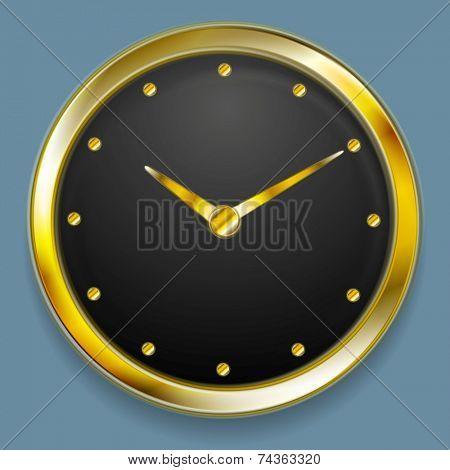 Abstract golden clock design. Vector design