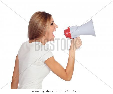 Blonde woman shouting with a megaphone isolated on a white background